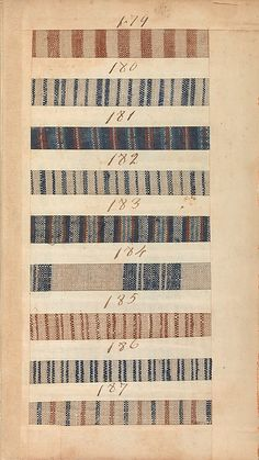 1771 British Sample Book 9 x 5 1/4 x 2 3/4 inches Bound pages: 8 1/4 x 4 5/8 in.- of Captain Nicholson on the brigantine Havannah. made by the Manchester manufacturing firm of Benjamin and John Bower, represent the type of inexpensive cloth mixtures of linen and cotton- MET 156.4T31