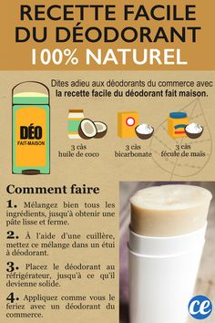 How to make solid and natural homemade deodorant? The homemade recipe is super effective AND ultra easy: coconut oil + cornstarch + bicarbonate. Coconut Oil Deodorant, Homemade Deodorant, Natural Deodorant, Make Beauty, Beauty Care, Limpieza Natural, Homemade Cosmetics, Green Life, Diy Cleaning Products