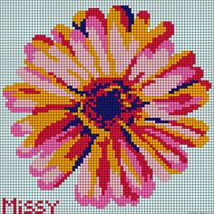 Red and link daisy cross stitch graph Hama Beads Patterns, Loom Patterns, Beading Patterns, Cross Stitching, Cross Stitch Embroidery, Cross Stitch Patterns, Stitch Games, 3d Foto, Pixel Crochet