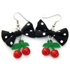 Black Polka Dot Bow and Cherry Earrings, Rockabilly, Retro, Surgical Steel Hook #Handmade #DropDangle