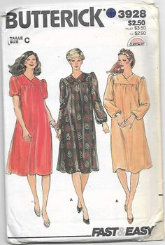 80s Women's Gathered Cap Sleeves Dresses Sewing Pattern Butterick 3928 Miss 16-18-20 Uncut