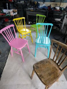 I don't like the pastels, but I definitely like the idea of painting old chairs bright colors.depending on the color scheme of the room, obviously. Paint Furniture, Furniture Projects, Furniture Makeover, Home Projects, Hot Pink Furniture, Decoupage Furniture, Chair Makeover, Furniture Design, Painting Old Chairs