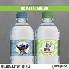 Disney Lilo and Stitch Birthday Bottle Labels by SunnyGeckoDesign