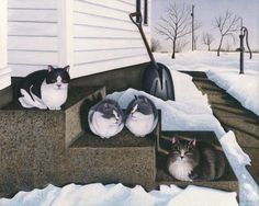 Cats - Jake's Mousers Painting by Carol Wilson - Cats - Jake's Mousers Fine Art Prints and Posters for Sale #FineArtAmerica