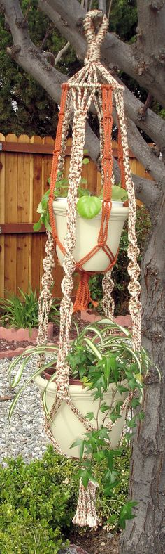 Macrame Double Plant Hanger by LillysTreasureChest on Etsy, $35.00