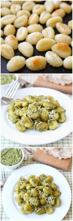 Crispy Gnocchi with Basil Pesto Recipe on twopeasandtheirpod.com. Pinner says: This recipe is SO easy and SO good!