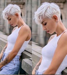 Edgy Short Haircuts, Cool Short Hairstyles, Short Hair Styles Easy, Curly Hair Styles, Short Hair Cuts For Women Edgy, Beautiful Hairstyles, Very Short Pixie Cuts, Ladies Hairstyles, Long Pixie