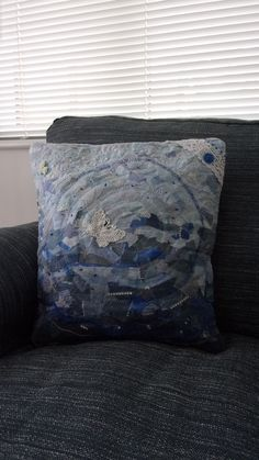 Confetti style cushion cover in blue made from tiny pieces of fabric embellished with lace button and beads Free Motion Embroidery, Machine Embroidery, Lace Button, Broken Chain, Cushion Pads, Handmade Items, Handmade Gifts, Confetti, Craft Supplies