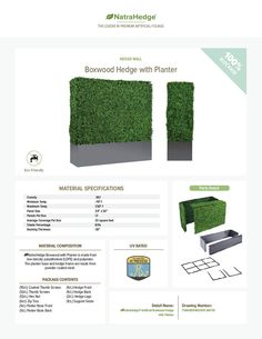 Faux Boxwood Hedge with Planter Box Material Specifications