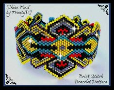 China Town Brick Stitch Beadwork by TrinityDJ Beaded Cuff Bracelet, Peyote Bracelet, Beaded Jewelry Patterns, Bracelet Patterns, Peyote Patterns, Beading Patterns, Seed Bead Jewelry, Seed Beads, Brick Patterns