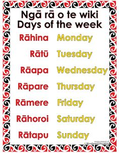 days of the week in te reo - Google Search