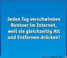 Jeden Tag verschwinden Rentner... Clash Royale, Bee Happy, No Worries, Comedy, Jokes, Lol, Funny Stuff, Humor, Good Jokes