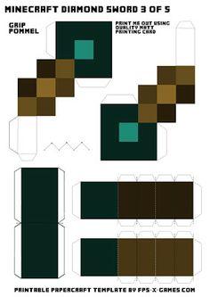 Minecraft diamond sword template 3 of 5 Real life crafting. #minecraft #papercraft #sword