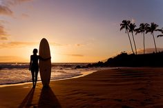 sunset and surf board