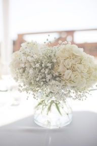 hydrangeas + babys breath. done.  Niec and simple yet full and inexpensive!