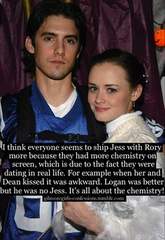 "It was about chemistry but the fact is Jess was never emotional ready to commit to Rory... Sure he dated Shane but it was bc he had no ""real"" feelings for her and their relationship was purely physical"