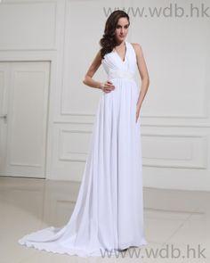 Chiffon Halter V-neck Empire Bridal Gown Wedding Dress  Read More:     http://www.weddingdresso.com/chiffon-halter-v-neck-empire-bridal-gown-wedding-dress.html