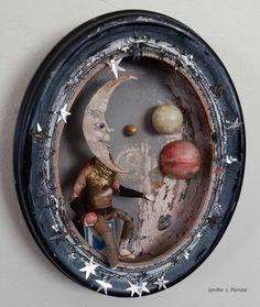 The Moon, small by on DeviantArt - Assemblage Art Found Object Art, Found Art, Wood Crafts, Paper Crafts, Diy Crafts, Arte Assemblage, Collages, Recycled Art, Box Art