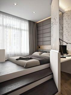 Спальня на подиуме в интерьере однокомнатной квартиры (визуализация — Игорь Глушан)