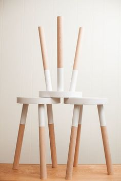 "Kitchen: You could give some yard sale stools a DIY paint ""dipped"" makeover for a similar effect 