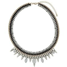 Topshop 'Cord & Stone' Collar Necklace ($30) ❤ liked on Polyvore featuring jewelry, necklaces, accessories, colares, bijoux, spikes jewelry, gold tone jewelry, bib collar necklace, topshop jewelry and lobster clasp necklace