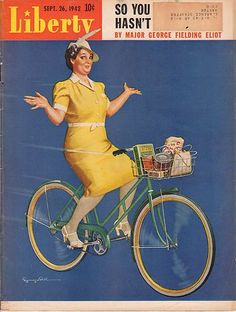 1942 vintage bicycle cover art for Liberty magazine September 26. Illustration of woman riding a bike with a basket full of groceries. Illustrator: Seymour Bull.
