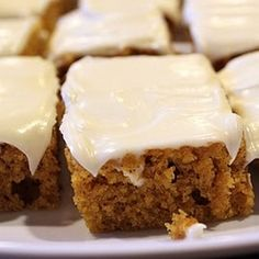 Pumpkin Bars - they should really call it pumpkin cake - delicious! Not gonna lie, I used store bought cream cheese frosting