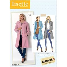 multi-size womenswear sewing pattern from Lisette for Butterick. Fitted coat with separate bust pieces for the perfect fit. Coat Pattern Sewing, Coat Patterns, Jacket Pattern, Free Sewing, Vintage Sewing Patterns, Clothing Patterns, Butterick Sewing Patterns, Skirt Patterns, Pattern Drafting