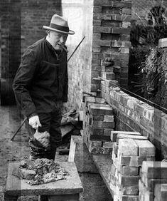 Winston Churchill laying bricks at Chartwell