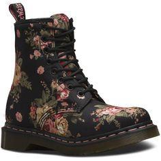 Dr. Martens 1460 ($135) ❤ liked on Polyvore featuring shoes, boots, black, flower print boots, dr martens boots, black victorian boots, blossom boots and black leather shoes
