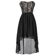 Lily Boutique Cute Black Lace and Chiffon High Low Dress