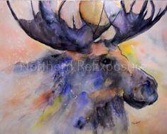 Blue Moose Watercolor Fine Art Giclee Print by NorthernReExposure