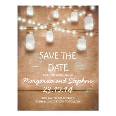 string lights and mason jars save the date cards