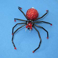 Handmade Red Rhinestone Beaded Spider Ornament for Christmas Tree Goth | eBay