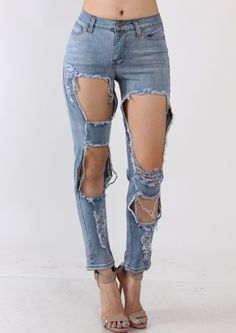 Large Whole Ripped Light Wash Skinny  Jeans - SoTrendyish - 1