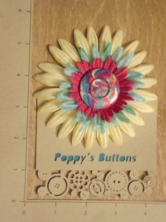Pastel Marbled Button Flower Barrette/Pin by PoppysButtons on Etsy