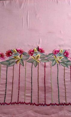 Hand Embroidery Patterns Flowers, Border Embroidery Designs, Kurti Embroidery Design, Hand Embroidery Videos, Hand Work Embroidery, Beaded Embroidery, Machine Embroidery Designs, Neck Designs For Suits, Sleeves Designs For Dresses