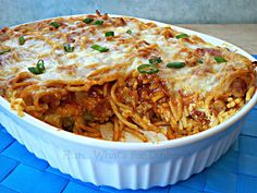 Pizza Baked Spaghetti - Just made it tonight and it is GOOD! I used hamburger meat instead of sausage because that's what I had. Would have added onions to the meat if I had any. I cut the recipe in half since its just me, the hubs, and daughter. Goes great with garlic bread! Will make again!