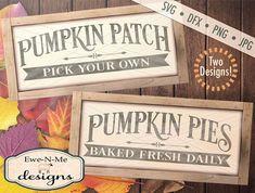 Pumpkin svg - Pumpkin Patch Sign svg - Pumpkin Pie Sign svg - autumn svg bundle - fall svg bundle - Commercial use svg, dxf, png and jpg Halloween Signs, Fall Halloween, Halloween Crafts, Pumpkin Picking, Pumpkin Pies, Fall Projects, Cnc Projects, Crafty Projects, Diy Signs