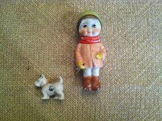 Vintage Bisque Girl Figure w/ Dog Made in Japan