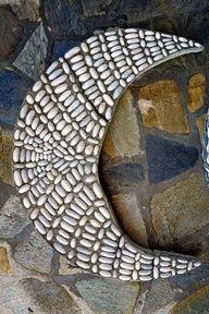 Moon pebble mosaic