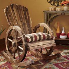 Wagon Wheel Rocker #upcycle #furniture #chair