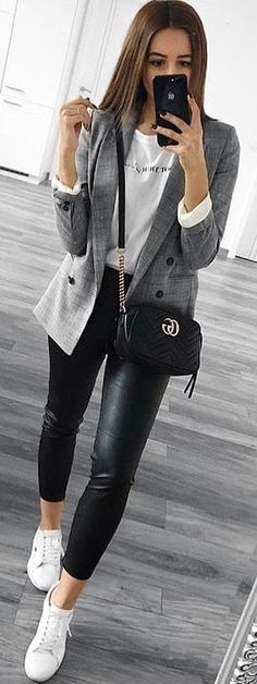 #spring #outfits gray button-up blazer. Pic by @_luxury_fashion_style