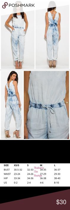"SALE 💖Denim Pocket Lounge Harem Jumpsuit Light Blue Chambray Tie Dye Acid Washed Denim Pocket Harem Image lighting makes item appear slightly lighter 100% Tencel   The Model pictured is 5'9 and wearing a size Small. Measurements are: Chest: 32 C Waist: 25"" Hips: 35"".                        OFFERS WELCOME Pants Jumpsuits & Rompers"