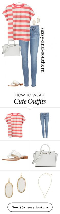 """""""cute outfit"""" by sassy-and-southern on Polyvore featuring Frame Denim, Tory Burch, Kendra Scott, Michael Kors and Jack Rogers"""