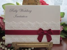 B0009 A6 Tuscany Ruby Wedding Anniversary Card  Invitation www.vintagelaceweddingcards.co.uk