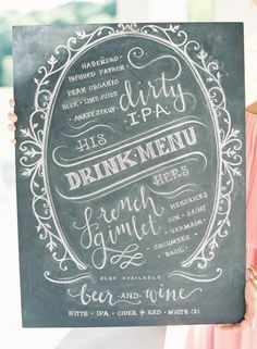 inspiration | chalkboard drink menu | via: style me pretty