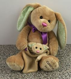 "Godiva Chocolate 2015 Bunny Rabbit & Baby Pouch By Gund Plush 8.5"" Stuffed Toy #GUND"