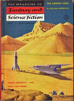 """The Magazine of Fantasy and Science Fiction (December 1954), cover by Chesley Bonestell depicts """"The Exploration of Mars."""""""