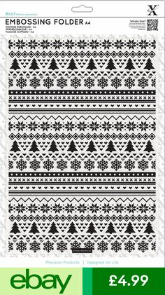 Xcut Embossing Supplies Crafts Christmas Design, Christmas Tree, Fair Isle Pattern, Embossing Folder, Snowflakes, Crafts, Ebay, Breien, Teal Christmas Tree